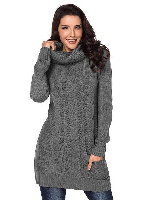Gray New Winter Knit Dress Solid Color High Neck Cable Knit Sweater Dress