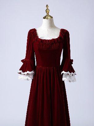 Burgundy Elegant velvet palace party evening dress long sleeve Prom Dress