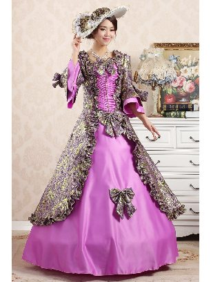Purple 1 Elegant court embroidered Trumpet Sleeves Bowknot palace Prom Dress