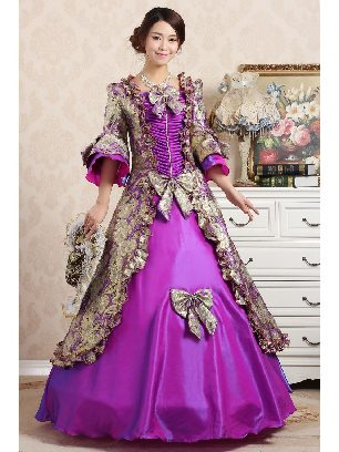 Dark purple Elegant court embroidered Trumpet Sleeves Bowknot palace Prom Dress