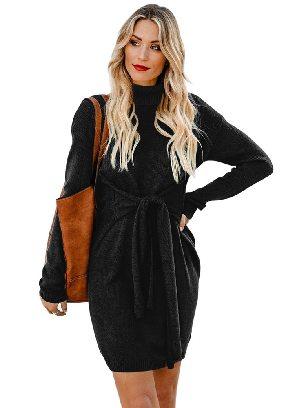 Black Women Long Sleeve Turtleneck Pullover Sweater with Tie Waist