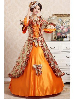 Orange Elegant court embroidered Trumpet Sleeves Bowknot palace Prom Dress