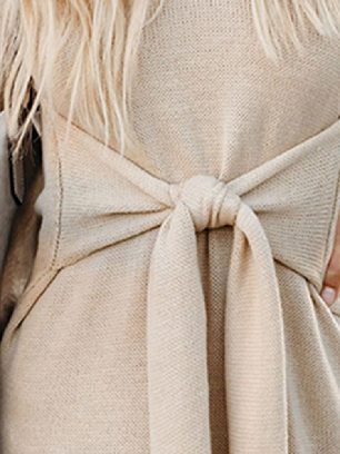 Apricot Women Long Sleeve Turtleneck Pullover Sweater with Tie Waist