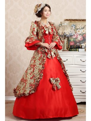 Red Elegant court embroidered Trumpet Sleeves Bowknot palace Prom Dress