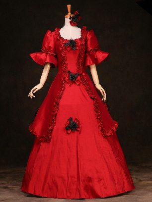 Red court Trumpet Sleeves Bowknot flowers palace Prom Dress