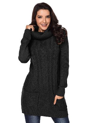 Black New Winter Knit Dress Solid Color High Neck Cable Knit Sweater Dress