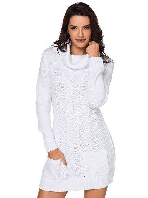 White New Winter Knit Dress Solid Color High Neck Cable Knit Sweater Dress