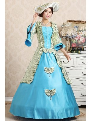 light blue Elegant court embroidered Trumpet Sleeves Bowknot palace Prom Dress