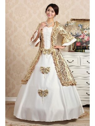White Elegant court embroidered Trumpet Sleeves Bowknot palace Prom Dress