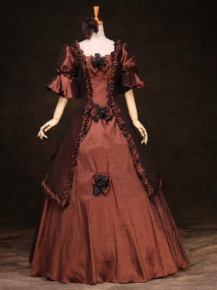 Brown court Trumpet Sleeves Bowknot flowers palace Prom Dress