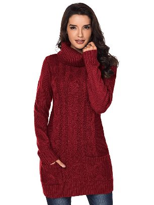 Red New Winter Knit Dress Solid Color High Neck Cable Knit Sweater Dress