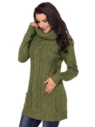 Green New Winter Knit Dress Solid Color High Neck Cable Knit Sweater Dress