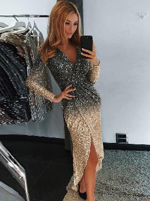Supply Sequin Wrapped Ruched Frills Irregular Dress