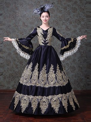 Medieval retro palace party embroidered Trumpet Sleeve Lace hem Prom Long Dress