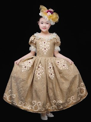 retro children court clothes birthday party wear embroidered Prom Dress