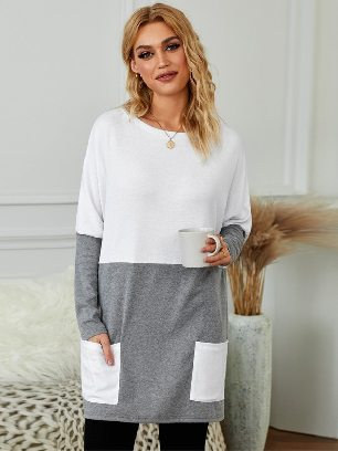Fall Winter New Style Colorblock Casual Long Sleeve Tunic with Pockets