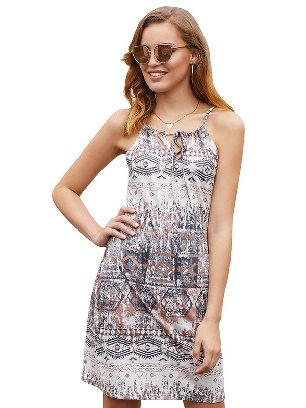Light Gray 2020 New Style Ethnic Bohemian Print Keyhole Front Sleeveless Dress