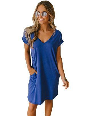 Blue Short Sleeve V Neck Cuffed T-shirt Dress