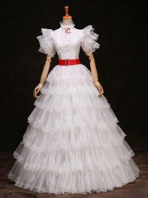 White princess phoenix dress short-sleeved Ruffles Lace hem palace Prom Dress