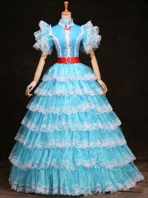 Blue princess phoenix dress short-sleeved Ruffles Lace hem palace Prom Dress