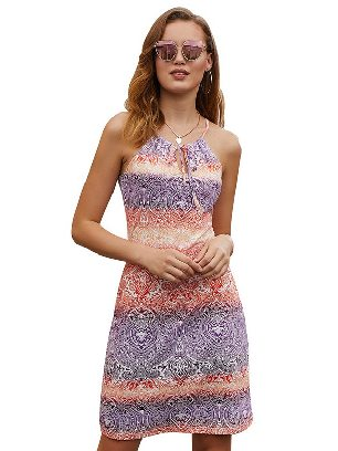 Purple 2020 New Style Ethnic Bohemian Print Keyhole Front Sleeveless Dress