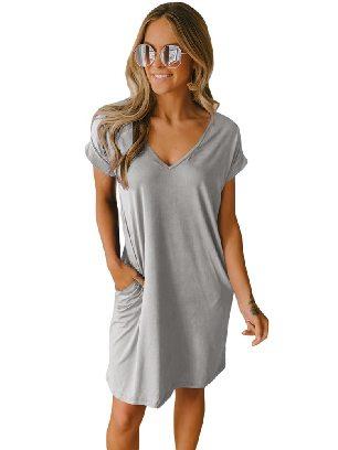Gray Short Sleeve V Neck Cuffed T-shirt Dress