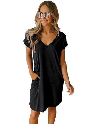 Black Short Sleeve V Neck Cuffed T-shirt Dress