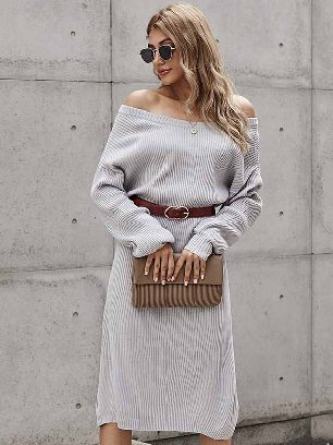 New Style Autumn and Winter Mid-length Knitted Ribbed Long Sleeve Midi Sweater Dress