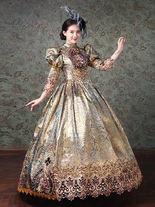 Classical Palace Style embroidered Lace hem Puff sleeve Prom Dress