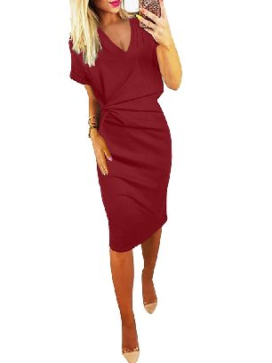 Supply Elegant Women V Neck Cutout Inverted Pleat Bodycon Dress