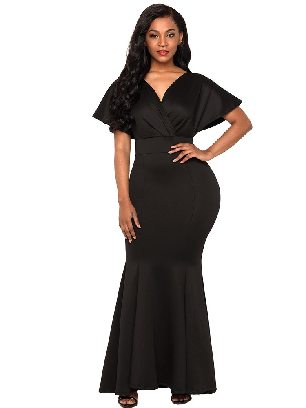 Supply V-neck Off Shoulder Mermaid Maxi Dress