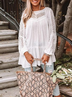 Autumn Fashion Solid Color French Fling Lace Tunic Top