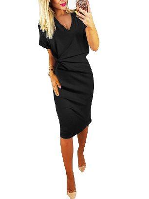 Black Elegant Women V Neck Cutout Inverted Pleat Bodycon Dress