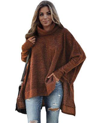 Brown Women Solid Color Turtleneck Bat Hem Slit Sleeve Tunic Top