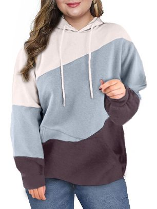 Green Women Sweatshirt Lucky Break Color Block Long Sleeve Plus Size Hoodie
