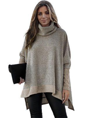 Khaki Women Solid Color Turtleneck Bat Hem Slit Sleeve Tunic Top