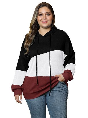 Black Women Sweatshirt Lucky Break Color Block Long Sleeve Plus Size Hoodie