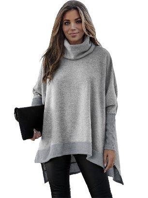 Gray Women Solid Color Turtleneck Bat Hem Slit Sleeve Tunic Top