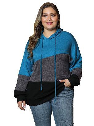 Blue Women Sweatshirt Lucky Break Color Block Long Sleeve Plus Size Hoodie