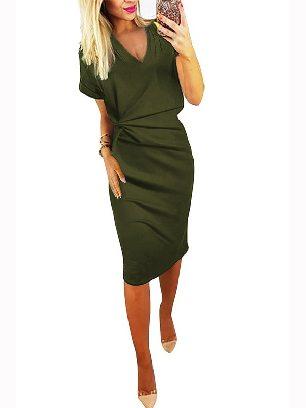 Green Elegant Women V Neck Cutout Inverted Pleat Bodycon Dress