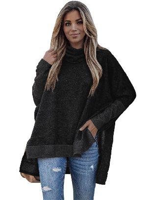 Black Women Solid Color Turtleneck Bat Hem Slit Sleeve Tunic Top