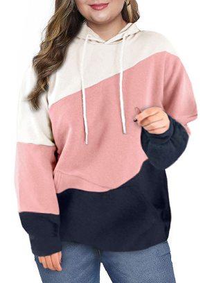 Pink Women Sweatshirt Lucky Break Color Block Long Sleeve Plus Size Hoodie