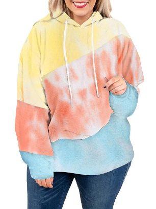 Light blue Women Sweatshirt Lucky Break Color Block Long Sleeve Plus Size Hoodie