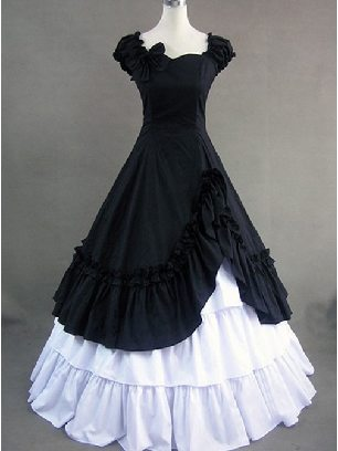 Women Ball Gown Classic Short Sleeves Layered Ruffle Lolita Dress