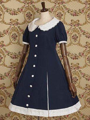Supply Doll Collar Waist Sweater OP School Lolita Dress