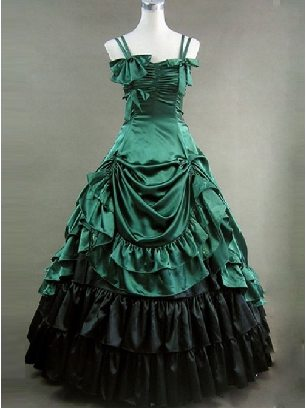 Victorian Dress Costume Bowknot Ruffles Gothic Lolita Sleeveless Style Dress