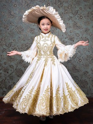 Children clothing court clothing royal embroidered Trumpet Sleeves palace Prom Dress