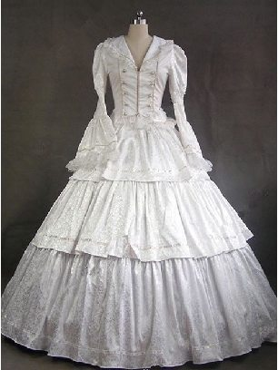 Victorian Gothic Concealed pattern collared lolita Prom Long Sleeve Dress