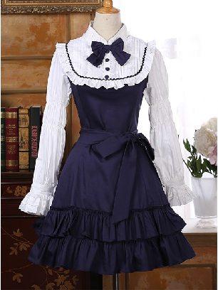 Palace retro lace Long Sleeves Ruffle Lolita Dress