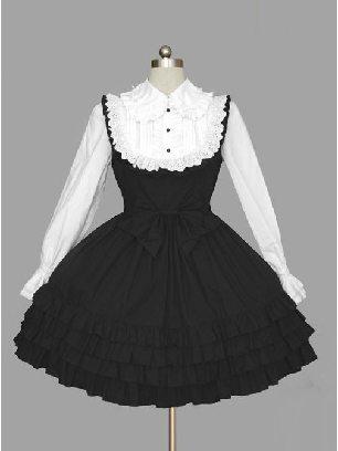 long-sleeved lapel Button Cotton one-piece skirt Classic Lolita Dress